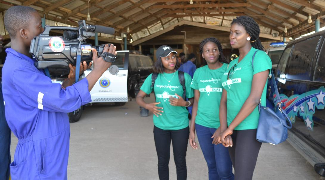 Projects Abroad volunteers doing a journalism internship in Ghana find and record stories for the local audience.